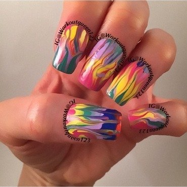 Dry marbling nail art by Workoutqueen123