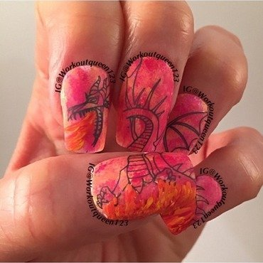 Fire eating dinosaur nail art by Workoutqueen123