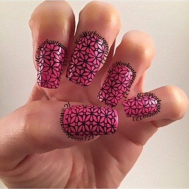 Black and pink stamping nail art by Workoutqueen123