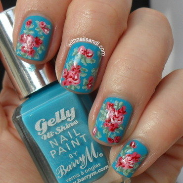Pink and turquoise floral nail art by WithnailsandI