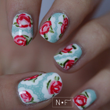 Cath Kidston nails nail art by NerdyFleurty