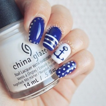 Blue & white nautical print nail art by Julia