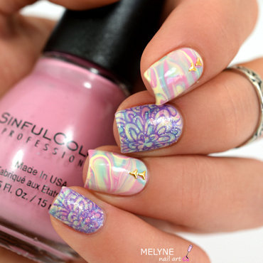 Pastel nails and stamping floral nail art by melyne nailart