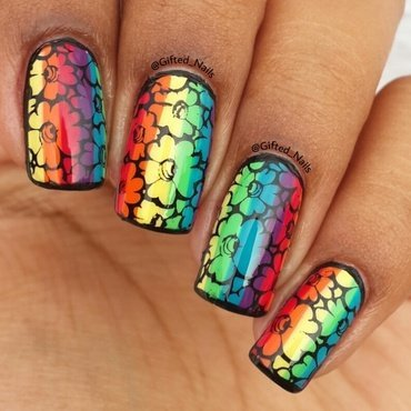 Rainbow stamp  nail art by Gifted_nails