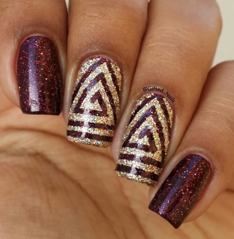 triangle swirls nail art by Gifted_nails - Nailpolis: Museum of Nail Art