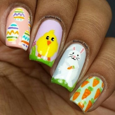 easter nails  nail art by Gifted_nails
