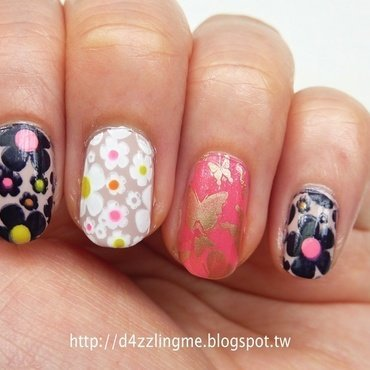 Spring Flowers  nail art by D4zzling Me