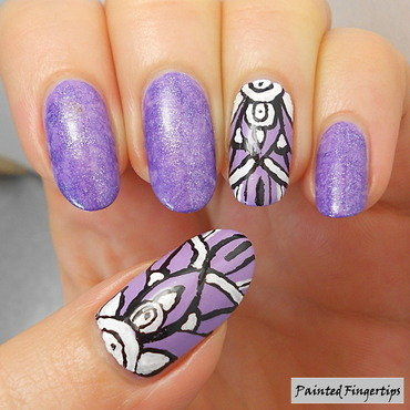 Freehand art over purple nail art by Kerry_Fingertips