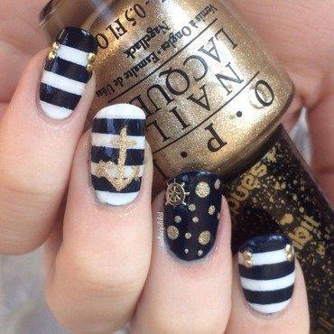 Nautical Nails nail art by allwaspolished
