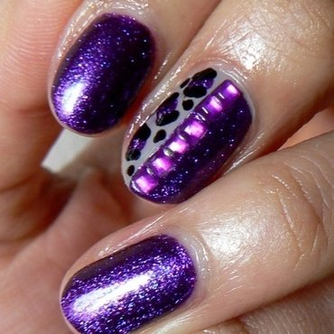 Mink and Purple Leopard nail art by Aysha Baig