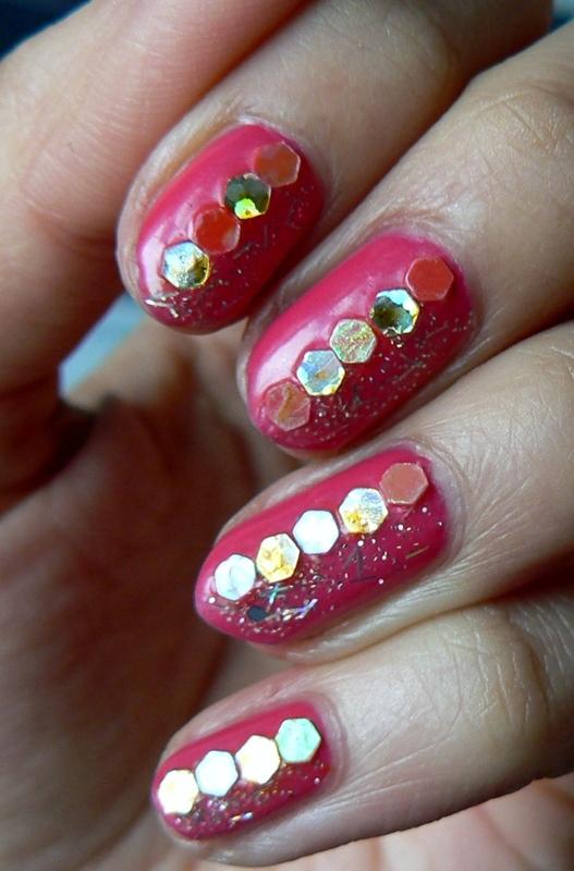 Pink Jellybean and Glitter nail art by Aysha Baig