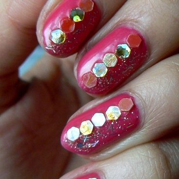 Pink Jellybean and Glitter nail art by Aysha Baig