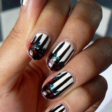 Stripes and Rose Tips nail art by Aysha Baig