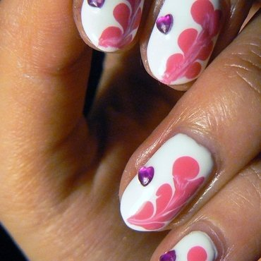 Marbled Hearts nail art by Aysha Baig