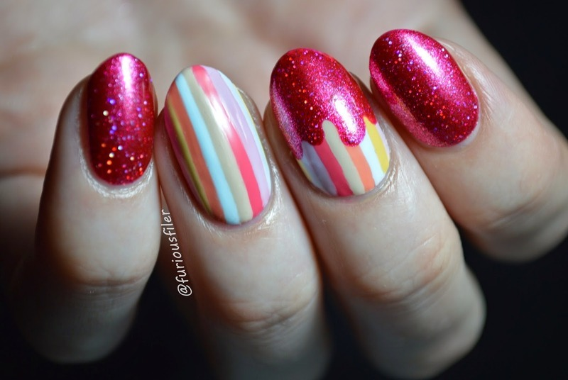 Holo drips over spring pastels nail art by Furious Filer