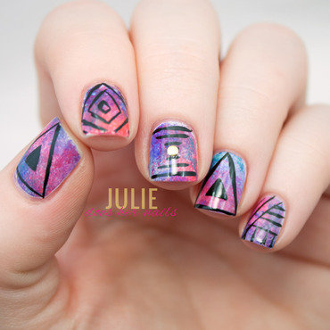 Hipster Illuminati Music Festival Nail Art nail art by Julie