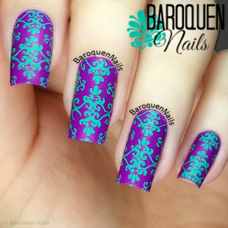 Bright Brocade nail art by BaroquenNails
