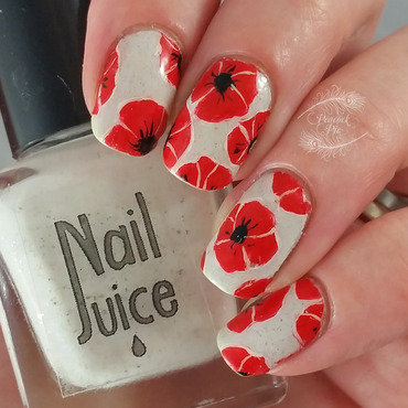ANZAC Poppies nail art by Serra Clark