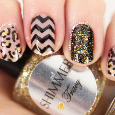 Negative Space & Leopard Print nail art by Robin