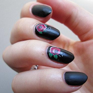 Matte black with water decals nail art by Yenotek