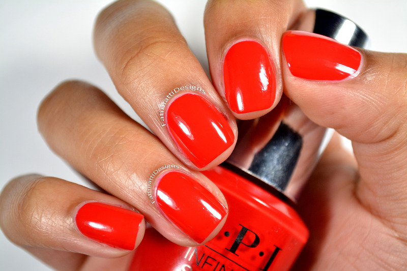 OPI Infinite Shine Unrepetantly Red Swatch by Fatimah