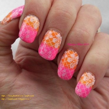 Tropical Floral nail art by Angelique Adams