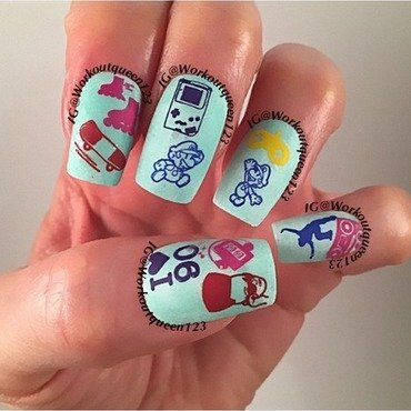 Retro back to the 90's nail art by Workoutqueen123