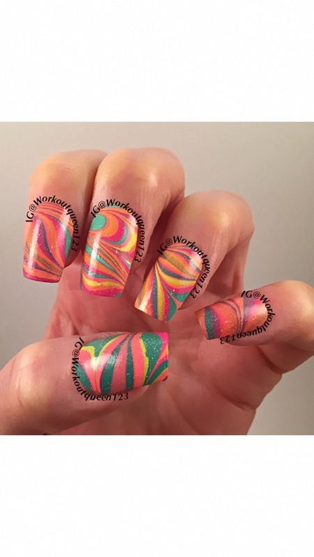 Water Marbling nail art by Workoutqueen123