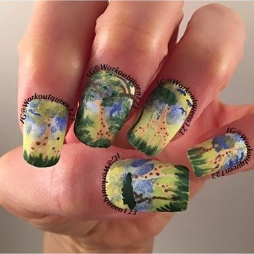 Family of Giraffes  nail art by Workoutqueen123