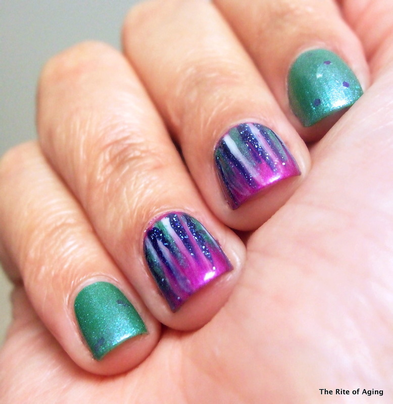 Rainy Day Waterfall Manicure nail art by Monica