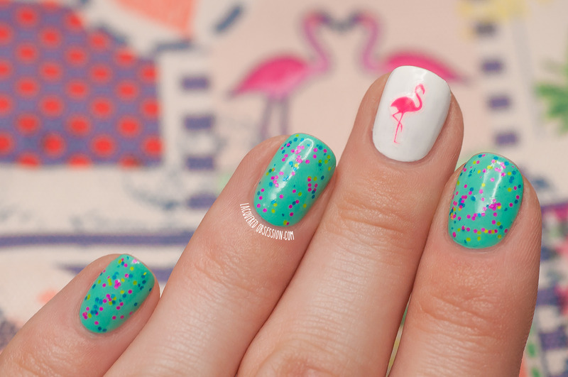 One neon pink flamingo nail art by Lacquered Obsession