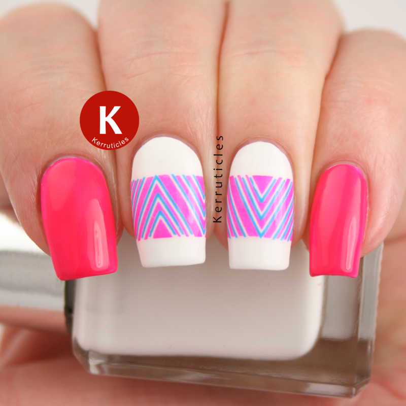 Neon pink and blue chevrons nail art by Claire Kerr