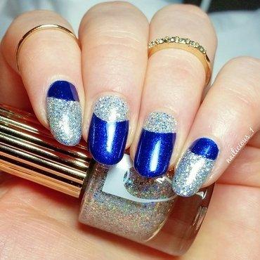Glittery half-moon mani nail art by nailicious_1