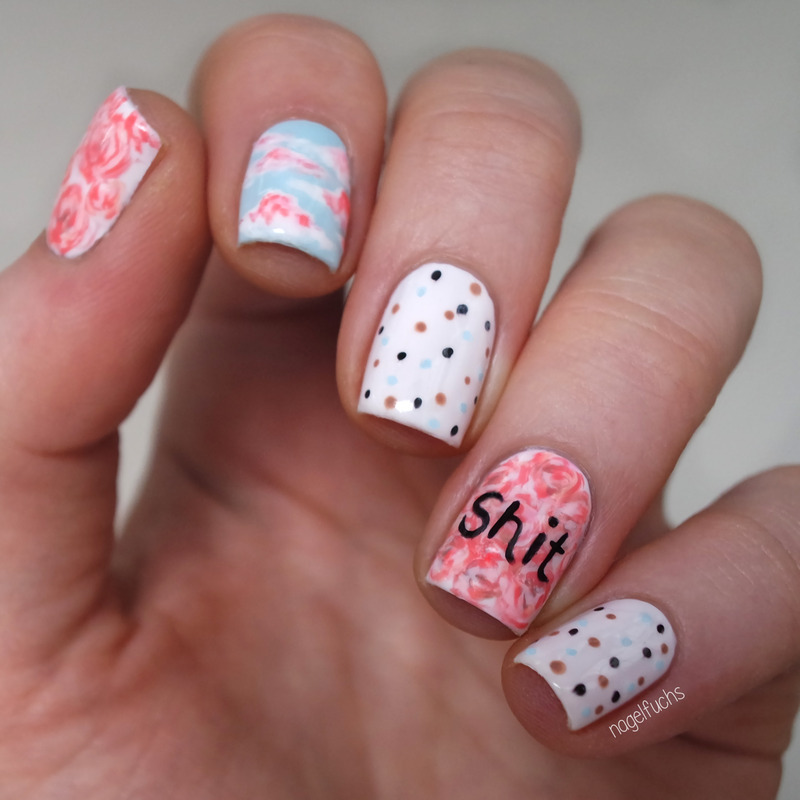 Roses, Clouds, Dots &Shit nail art by nagelfuchs
