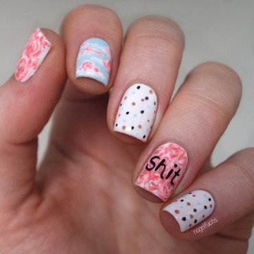 Roses, Clouds, Dots &Shit nail art by nagelfuchs