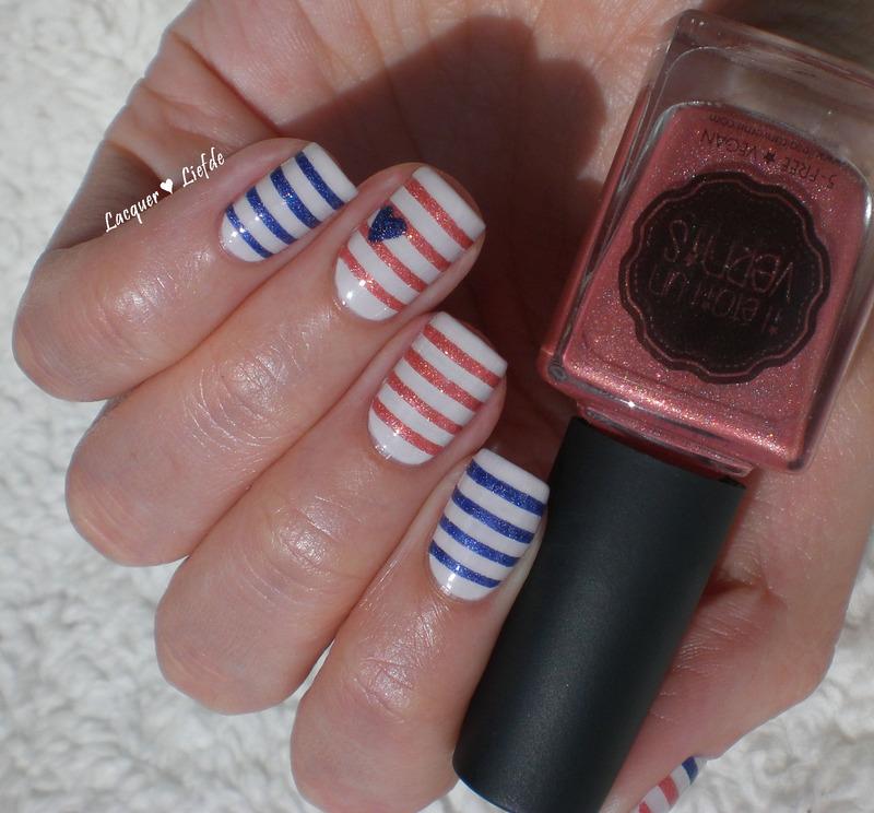 Striping Love nail art by Anna