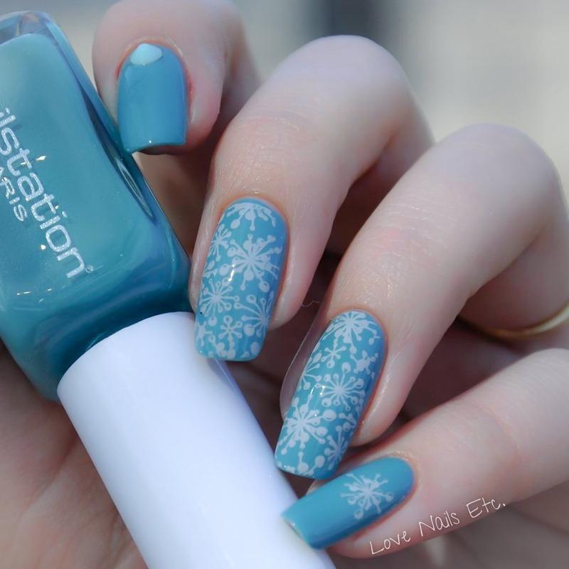 Blue spots nail art by Love Nails Etc