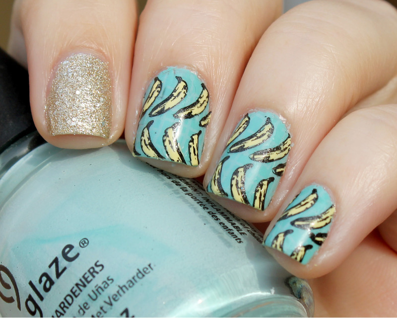 Bananas!! nail art by Moriesnailart