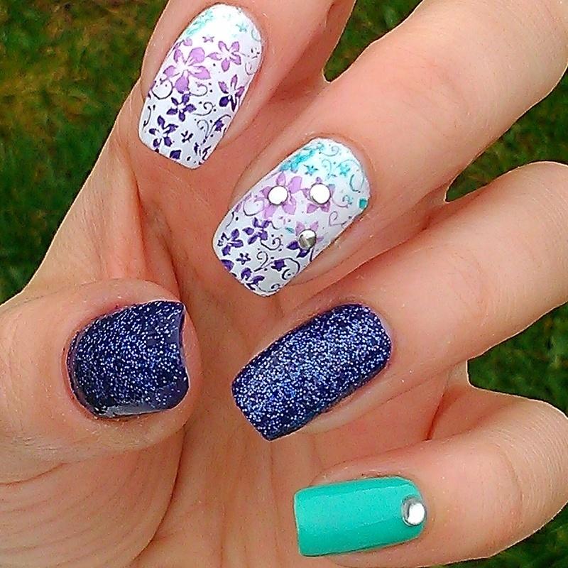 kolorowo,brokatowo nail art by Marzena