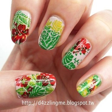 Tropical Nails  nail art by D4zzling Me