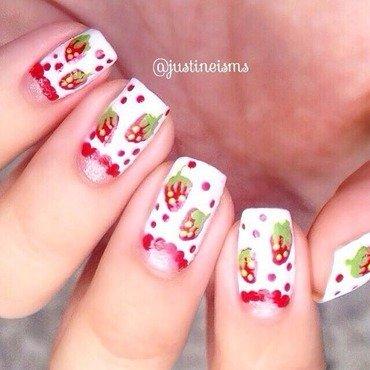 Strawberry Halfmoons nail art by ℐustine