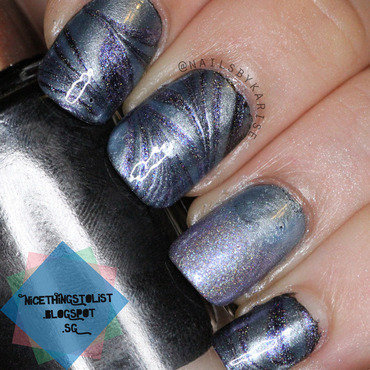 Water Marble and Gradient nail art by Karise Tan