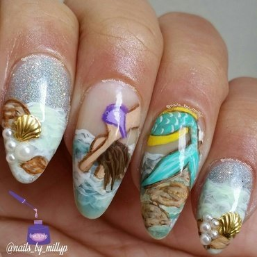 Mermaids are real nail art by Milly Palma