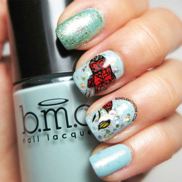 Dragon of the sea nail art by Bundle Monster