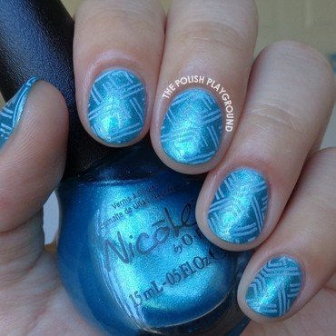 Blue Dashes Stamping nail art by Lisa N