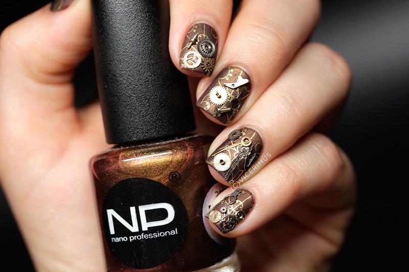 Steampunk nail art by Yulia