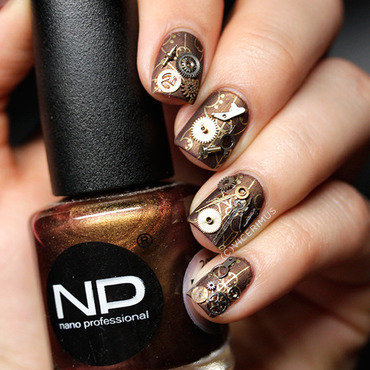 Steampunk nail art by Yulia