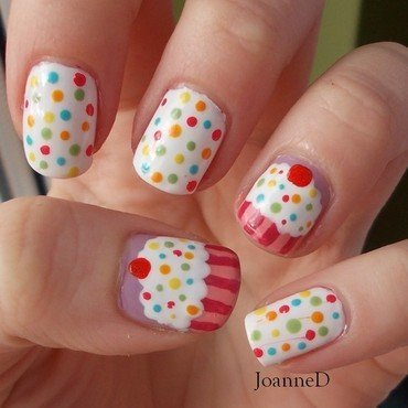 Cupcake nail art by JoanneD