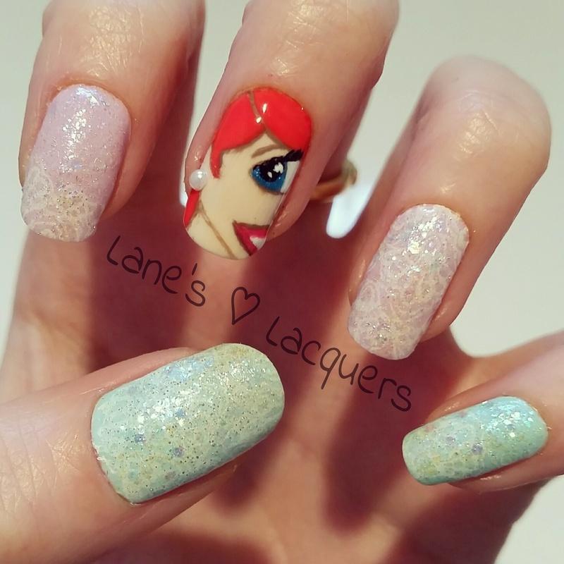 The Little Mermaid nail art by Rebecca