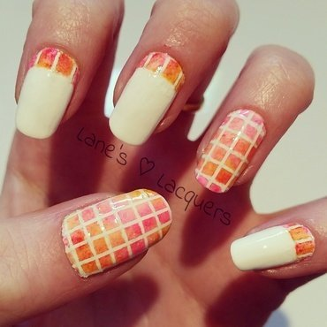 Pink orange mosaic ruffian alcohol ink nail art thumb370f